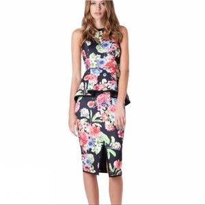 Elliatt Prominence Floral Neoprene Peplum Dress M